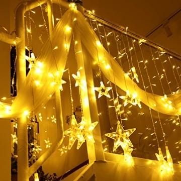 LED Lichterkette mit 12 Sterne, 138er LED Lichtervorhang weihnachtslichter Sternenvorhang 8 Modi Für Innen Außen, Sterne Vorhang Lichter, Weihnachten, Party, Hochzeit, Garten, Balkon, Deko (Warmweiß) - 5
