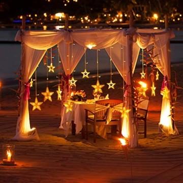 LED Lichterkette mit 12 Sterne, 138er LED Lichtervorhang weihnachtslichter Sternenvorhang 8 Modi Für Innen Außen, Sterne Vorhang Lichter, Weihnachten, Party, Hochzeit, Garten, Balkon, Deko (Warmweiß) - 6