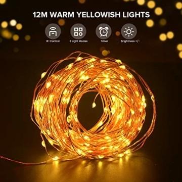 LED Lichterkette, TOPYIYI 12M Flexible Lichterkette Batterie mit 120 LED 8 Modi Fernbedienung Timer Wasserdichte Lichterketten für Zimmer, Weihnachten, Party, Hochzeit, Außen/Innen-Deko, Warmweiß - 2