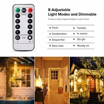 LED Lichterkette, TOPYIYI 12M Flexible Lichterkette Batterie mit 120 LED 8 Modi Fernbedienung Timer Wasserdichte Lichterketten für Zimmer, Weihnachten, Party, Hochzeit, Außen/Innen-Deko, Warmweiß - 3