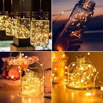 LED Lichterkette, TOPYIYI 12M Flexible Lichterkette Batterie mit 120 LED 8 Modi Fernbedienung Timer Wasserdichte Lichterketten für Zimmer, Weihnachten, Party, Hochzeit, Außen/Innen-Deko, Warmweiß - 4
