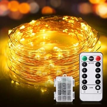 LED Lichterkette, TOPYIYI 12M Flexible Lichterkette Batterie mit 120 LED 8 Modi Fernbedienung Timer Wasserdichte Lichterketten für Zimmer, Weihnachten, Party, Hochzeit, Außen/Innen-Deko, Warmweiß - 1