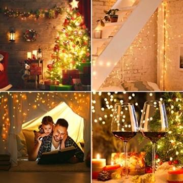 LED Lichterkette, TOPYIYI 12M Flexible Lichterkette Batterie mit 120 LED 8 Modi Fernbedienung Timer Wasserdichte Lichterketten für Zimmer, Weihnachten, Party, Hochzeit, Außen/Innen-Deko, Warmweiß - 5