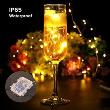 LED Lichterkette, TOPYIYI 12M Flexible Lichterkette Batterie mit 120 LED 8 Modi Fernbedienung Timer Wasserdichte Lichterketten für Zimmer, Weihnachten, Party, Hochzeit, Außen/Innen-Deko, Warmweiß - 6