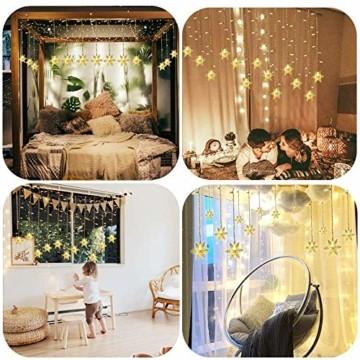 LED Lichterketten Vorhang, THOWALL 5.5*0.7M 93 LED Lichtervorhang mit 8 Modi & 16 Haken & 16 Große Schneeflocken für Schlafzimmer Hochzeit Geburtstag Garten Fenster Innen und Außen Deko, Warmes Gelb - 2