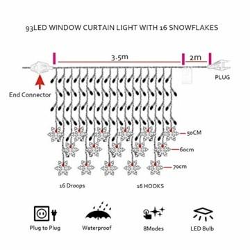 LED Lichterketten Vorhang, THOWALL 5.5*0.7M 93 LED Lichtervorhang mit 8 Modi & 16 Haken & 16 Große Schneeflocken für Schlafzimmer Hochzeit Geburtstag Garten Fenster Innen und Außen Deko, Warmes Gelb - 3