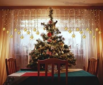 LED Lichterketten Vorhang, THOWALL 5.5*0.7M 93 LED Lichtervorhang mit 8 Modi & 16 Haken & 16 Große Schneeflocken für Schlafzimmer Hochzeit Geburtstag Garten Fenster Innen und Außen Deko, Warmes Gelb - 5