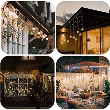 LED Lichterketten Vorhang, THOWALL 5.5*0.7M 93 LED Lichtervorhang mit 8 Modi & 16 Haken & 16 Große Schneeflocken für Schlafzimmer Hochzeit Geburtstag Garten Fenster Innen und Außen Deko, Warmes Gelb - 7