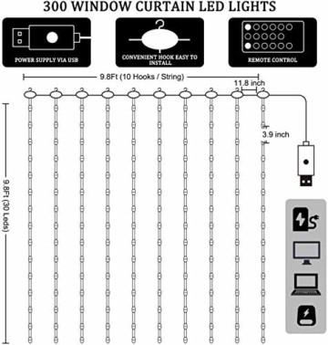 LED Lichtervorhang - 3Mx3M 300 LED Lichterkettenvorhang 12 Modi IP65 Wasserdicht USB Lichterketten Vorhang für Garten, Pavillon, Party, Weihnachten, Schlafzimmer,Warmweiß - 2