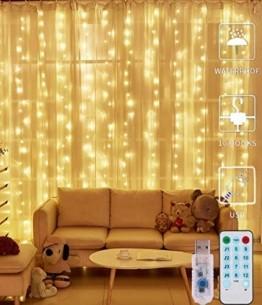 LED Lichtervorhang - 3Mx3M 300 LED Lichterkettenvorhang 12 Modi IP65 Wasserdicht USB Lichterketten Vorhang für Garten, Pavillon, Party, Weihnachten, Schlafzimmer,Warmweiß - 1