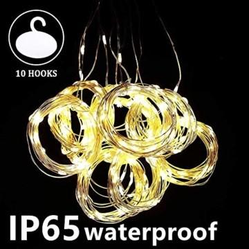 LED Lichtervorhang - 3Mx3M 300 LED Lichterkettenvorhang 12 Modi IP65 Wasserdicht USB Lichterketten Vorhang für Garten, Pavillon, Party, Weihnachten, Schlafzimmer,Warmweiß - 4