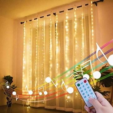 LED Lichtervorhang - 3Mx3M 300 LED Lichterkettenvorhang 12 Modi IP65 Wasserdicht USB Lichterketten Vorhang für Garten, Pavillon, Party, Weihnachten, Schlafzimmer,Warmweiß - 6