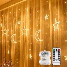 LED Lichtervorhang Lichterkette, Sterne und Mond 138pcs LED Fenstervorhang Lichter Mit 8 Blinkenden Modi für Garten, Haus, LED Sternenvorhang Dekorative, Warmes Weiß - 1