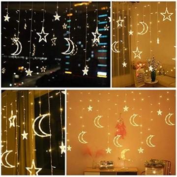 LED Lichtervorhang Lichterkette, Sterne und Mond 138pcs LED Fenstervorhang Lichter Mit 8 Blinkenden Modi für Garten, Haus, LED Sternenvorhang Dekorative, Warmes Weiß - 6