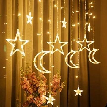 LED Lichtervorhang Lichterkette, Sterne und Mond 138pcs LED Fenstervorhang Lichter Mit 8 Blinkenden Modi für Garten, Haus, LED Sternenvorhang Dekorative, Warmes Weiß - 7