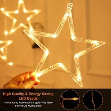 LED Lichtervorhang, Weihnachten Lichterkette, 3M Lichtervorhang Batteriebetrieben mit 12 Sterne 138 LEDs Weihnachtslichter Sternenvorhang für Weihnachten, Party, Hochzeit, Balkon Deko (Warmweiß) - 2
