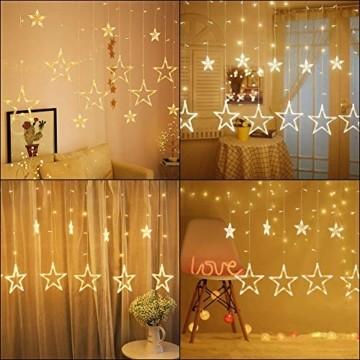 LED Lichtervorhang, Weihnachten Lichterkette, 3M Lichtervorhang Batteriebetrieben mit 12 Sterne 138 LEDs Weihnachtslichter Sternenvorhang für Weihnachten, Party, Hochzeit, Balkon Deko (Warmweiß) - 4