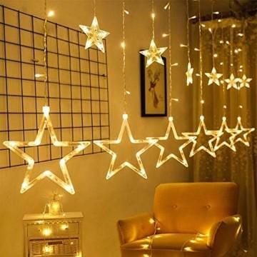 LED Lichtervorhang, Weihnachten Lichterkette, 3M Lichtervorhang Batteriebetrieben mit 12 Sterne 138 LEDs Weihnachtslichter Sternenvorhang für Weihnachten, Party, Hochzeit, Balkon Deko (Warmweiß) - 1