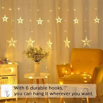 LED Lichtervorhang, Weihnachten Lichterkette, 3M Lichtervorhang Batteriebetrieben mit 12 Sterne 138 LEDs Weihnachtslichter Sternenvorhang für Weihnachten, Party, Hochzeit, Balkon Deko (Warmweiß) - 5