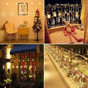 LED Lichtervorhang, Weihnachten Lichterkette, 3M Lichtervorhang Batteriebetrieben mit 12 Sterne 138 LEDs Weihnachtslichter Sternenvorhang für Weihnachten, Party, Hochzeit, Balkon Deko (Warmweiß) - 6