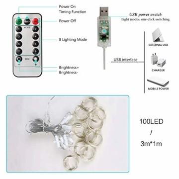 LED Lichtervorhang,3m x 1m 100 LEDS USB Lichterkettenvorhang,8 Modi mit Fernbedienung,Lichterkette für Schlafzimmer, innen außen Dekoration, Party Hochzeit Weihnachten Geburtstag Garten (3x1m) - 4
