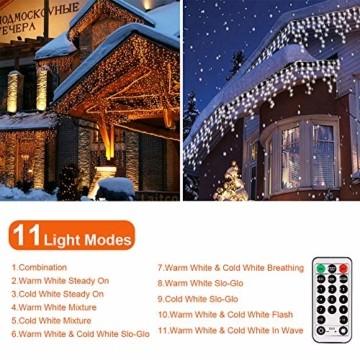 LED Lichtervorhang,B-right 12M 440 Led Lichterkette Eisregen Vorhang strombetrieben,Lichterkette außen&innen,Warmweiß und Kaltweiß Lichterkettenvorhang mit Fernbedienung,Weihnachten,Hochzeit,Party - 3