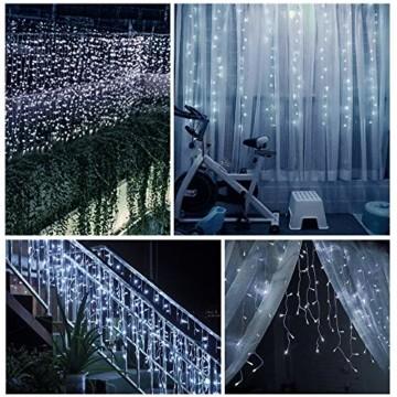 LED Lichtervorhang,B-right 12M 440 Led Lichterkette Eisregen Vorhang strombetrieben,Lichterkette außen&innen,Warmweiß und Kaltweiß Lichterkettenvorhang mit Fernbedienung,Weihnachten,Hochzeit,Party - 6