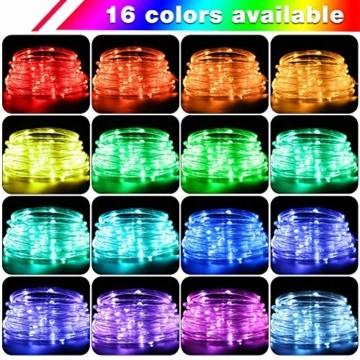 LED Lichtschlauch, HOSPAOP 10m 100 LEDs Lichterschlauch Aussen, 16 Farben 4 Modi Led Schlauch mit Fernbedienung &Timer, IP68 Wasserdicht USB Lichtschlauch für Garten, Weihnachten, Hochzeit, Party - 2