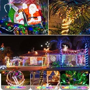 LED Lichtschlauch, HOSPAOP 10m 100 LEDs Lichterschlauch Aussen, 16 Farben 4 Modi Led Schlauch mit Fernbedienung &Timer, IP68 Wasserdicht USB Lichtschlauch für Garten, Weihnachten, Hochzeit, Party - 3