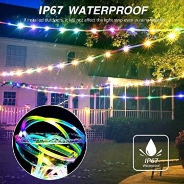 LED Lichtschlauch, HOSPAOP 10m 100 LEDs Lichterschlauch Aussen, 16 Farben 4 Modi Led Schlauch mit Fernbedienung &Timer, IP68 Wasserdicht USB Lichtschlauch für Garten, Weihnachten, Hochzeit, Party - 4
