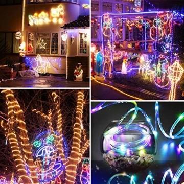 LED Lichtschlauch, HOSPAOP 10m 100 LEDs Lichterschlauch Aussen, 16 Farben 4 Modi Led Schlauch mit Fernbedienung &Timer, IP68 Wasserdicht USB Lichtschlauch für Garten, Weihnachten, Hochzeit, Party - 5
