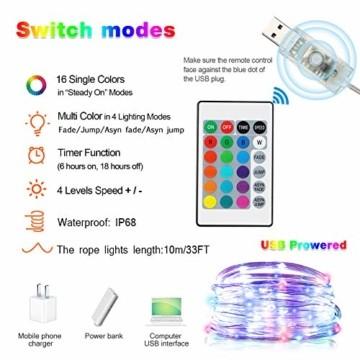 LED Lichtschlauch, HOSPAOP 10m 100 LEDs Lichterschlauch Aussen, 16 Farben 4 Modi Led Schlauch mit Fernbedienung &Timer, IP68 Wasserdicht USB Lichtschlauch für Garten, Weihnachten, Hochzeit, Party - 6