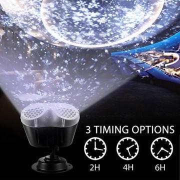 LED Projektionslampe, LED Schneeflocke Projektor Licht, Wasserdicht Schneefall Weihnachtsbeleuchtung Aussen LED Projektor Lichter für Außen und Innen Deko,Geburtstag Party, Weinachten und Feiertage - 2