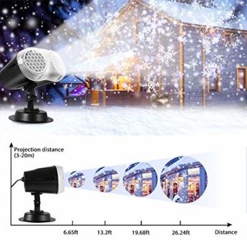 LED Projektionslampe, LED Schneeflocke Projektor Licht, Wasserdicht Schneefall Weihnachtsbeleuchtung Aussen LED Projektor Lichter für Außen und Innen Deko,Geburtstag Party, Weinachten und Feiertage - 5