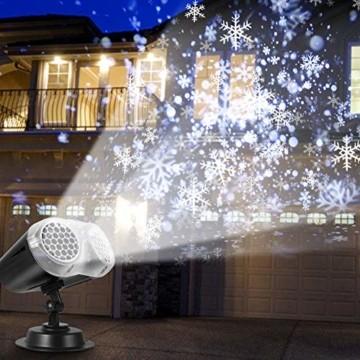 LED Projektionslampe, LED Schneeflocke Projektor Licht, Wasserdicht Schneefall Weihnachtsbeleuchtung Aussen LED Projektor Lichter für Außen und Innen Deko,Geburtstag Party, Weinachten und Feiertage - 8