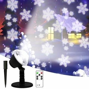 LED Projektionslampe, Schneeflocken Schneefall Effektlicht mit Fernbedienung Timer, Weihnachtsbeleuchtung Außen Innen, Projektor Lampe Weihnachten IP65 Wasserdicht Weihnachtsdeko für Garten - 1