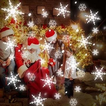 LED Projektionslampe, Schneeflocken Schneefall Effektlicht mit Fernbedienung Timer, Weihnachtsbeleuchtung Außen Innen, Projektor Lampe Weihnachten IP65 Wasserdicht Weihnachtsdeko für Garten - 6