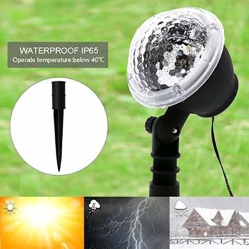 LED Projektionslampe, Schneeflocken Schneefall Effektlicht mit Fernbedienung Timer, Weihnachtsbeleuchtung Außen Innen, Projektor Lampe Weihnachten IP65 Wasserdicht Weihnachtsdeko für Garten - 7