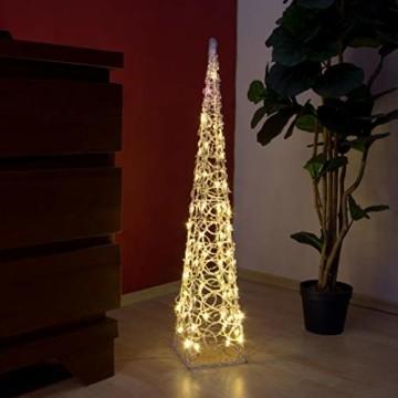 LED Pyramide Lichterkegel – Beleuchtung für Weihnachten innen außen – Acryl-Figur mit Trafo IP44 Timer 60 LED warm-weiß 90 cm hoch Xmas-Deko - 9