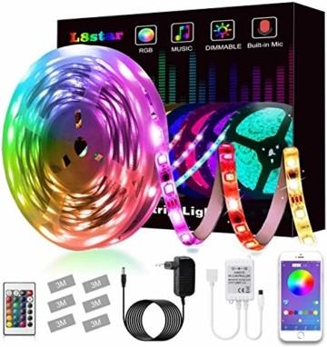 LED Strip, L8star LED Streifen Farbwechsel Led Lichterkette 5M RGB Flexible LED Bänder Strips mit Bluetooth Kontroller Sync zur Musik, Anwendung für Schlafzimmer (5M) - 1