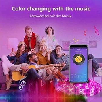 LED Strip, L8star LED Streifen Farbwechsel Led Lichterkette 5M RGB Flexible LED Bänder Strips mit Bluetooth Kontroller Sync zur Musik, Anwendung für Schlafzimmer (5M) - 6