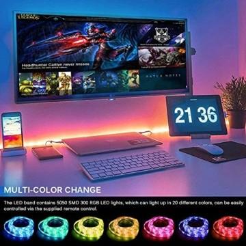 LED Strip Lichtband Wasserdicht 10M, SHOPLED RGB SMD 5050 LED Streifen Selbstklebend, Farbwechsel Led lichterkette mit RF Fernbedienung und Netzteil LED Band Leiste für die von Haus, Party, Küche, Bar - 4