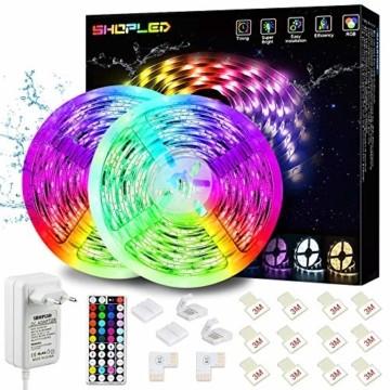 LED Strip Lichtband Wasserdicht 10M, SHOPLED RGB SMD 5050 LED Streifen Selbstklebend, Farbwechsel Led lichterkette mit RF Fernbedienung und Netzteil LED Band Leiste für die von Haus, Party, Küche, Bar - 1