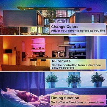 LED Strip Lichtband Wasserdicht 10M, SHOPLED RGB SMD 5050 LED Streifen Selbstklebend, Farbwechsel Led lichterkette mit RF Fernbedienung und Netzteil LED Band Leiste für die von Haus, Party, Küche, Bar - 5
