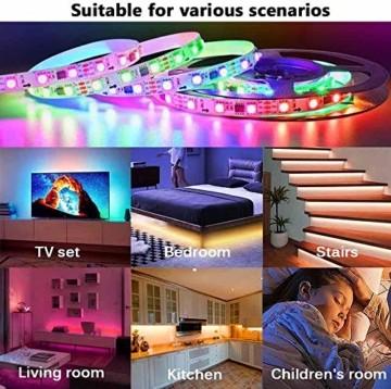 LED Strip Lichtband Wasserdicht 10M, SHOPLED RGB SMD 5050 LED Streifen Selbstklebend, Farbwechsel Led lichterkette mit RF Fernbedienung und Netzteil LED Band Leiste für die von Haus, Party, Küche, Bar - 8