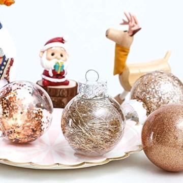 LessMo 30 Stück Weihnachtskugeln, 60mm Bruchsicher Kunststoff Christbaumkugeln, Weihnachtsbaum Deko Baumschmuck zum Aufhängen für Weihnachten Hängedekorationen Festival Feiertagsdekoration - 2