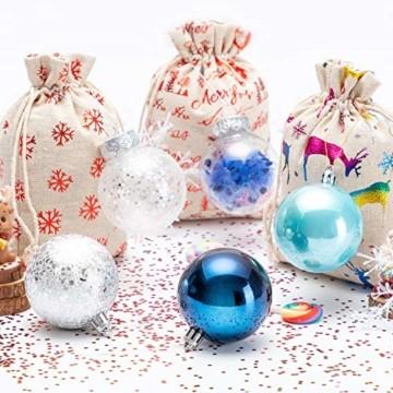 LessMo 30 Stück Weihnachtskugeln, 60mm Bruchsicher Kunststoff Christbaumkugeln, Weihnachtsbaum Deko Baumschmuck zum Aufhängen für Weihnachten Hängedekorationen Festival Feiertagsdekoration - 7