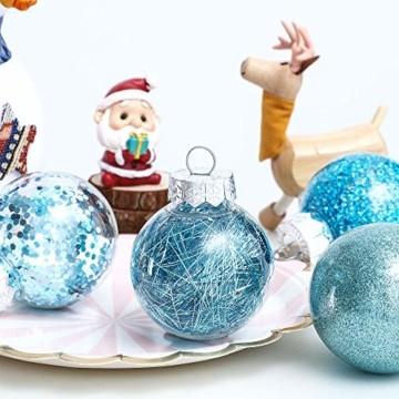 LessMo 30 Stück Weihnachtskugeln, 60mm Bruchsicher Kunststoff Christbaumkugeln, Weihnachtsbaum Deko Baumschmuck zum Aufhängen für Weihnachten Hängedekorationen Festival Feiertagsdekoration - 5