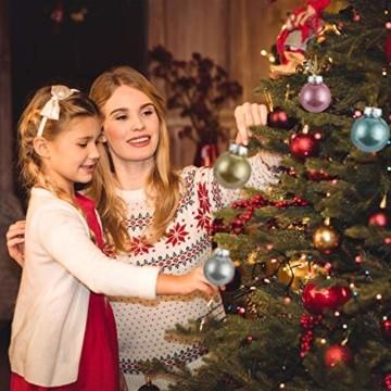 LessMo 30 Stück Weihnachtskugeln, 60mm Bruchsicher Kunststoff Christbaumkugeln, Weihnachtsbaum Deko Baumschmuck zum Aufhängen für Weihnachten Hängedekorationen Festival Feiertagsdekoration - 6