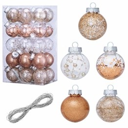 LessMo 30 Stück Weihnachtskugeln, 60mm Bruchsicher Kunststoff Christbaumkugeln, Weihnachtsbaum Deko Baumschmuck zum Aufhängen für Weihnachten Hängedekorationen Festival Feiertagsdekoration - 1